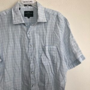 Rodd & Gunn linen button down short sleeve shirt M